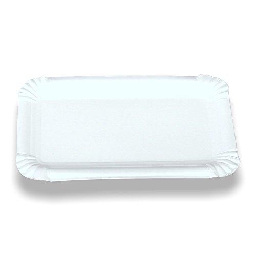 125x Pappteller, Kuchenteller, Einwegteller, rechteckig, Weiß, 21 x 29 cm