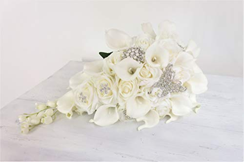 Ansuma White Calla Lily and Rose Cascading Bride Bouquet Waterfall Wedding Flower – Lily Rhinestone Jewelry Brooches and Satin Ribbon Décor (White) Silk Flower Arrangements