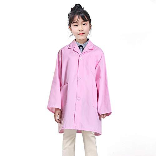 子供服 白衣医者 コスプレ衣装 キッズ ドクターコート 両脇ポケット ナース お医者さん コスチュー ム 女の子 男の子 変身なりきり ピンク 粉 XL