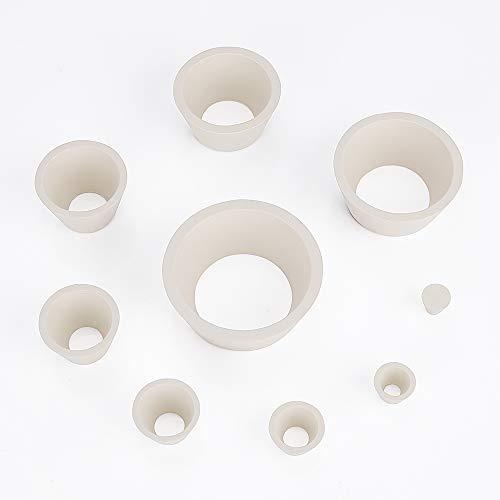 Labasics Filteradapterkegel, Robuster Gummistopfen mit konischem Kragen Buchner Trichterkolben Kegel Adapter Set, Tragen Sie widerstandsfähige glatte Oberfläche, Filter Adapter Cones, 9er Pack, weiß