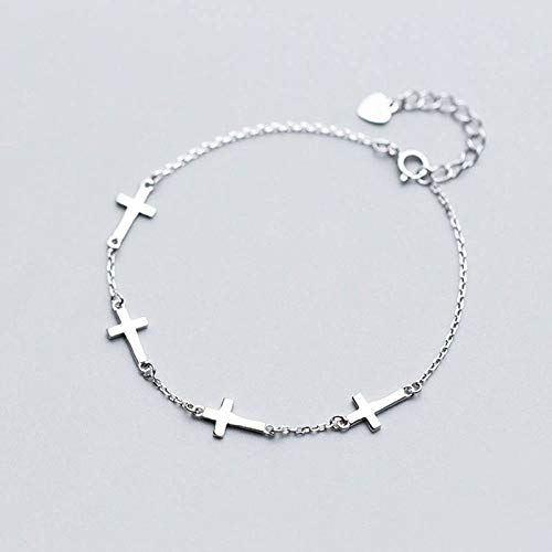 BENGKUI Women'S 925 Sterling Silver Bracelet,Fashion Sweet 4 Cross Anklets Bracelet For Women Wedding Party Jewelry Gift For Women Birthday Gifts For Mum Wife