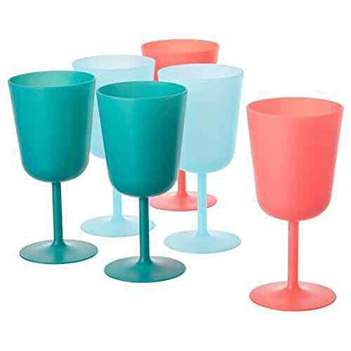 Ikea Utefest 6 x Kunststoff-Weingläser für Partys, verschiedene Farben, 29 cl