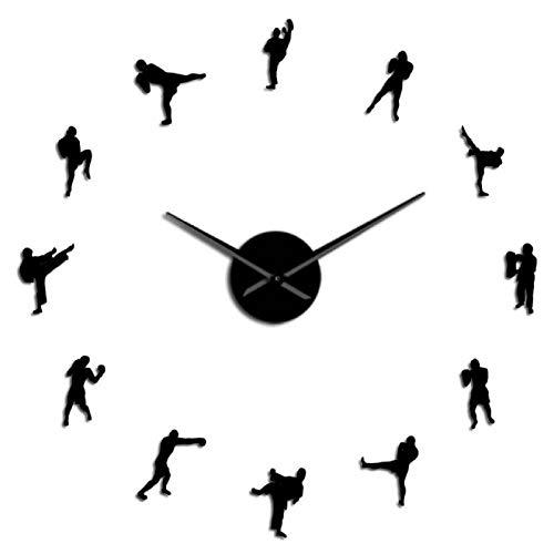xinxin Reloj de Pared Kickboxing DIY Reloj de Pared Fighting Wall Art Cuarzo Acrílico Espejo Adhesivo Reloj Kickboxing Entrenador Regalo Taekowndo Gimnasio Decoración para el hogar Oficina Escuela