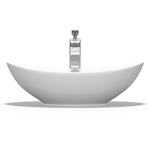 Aufsatzwaschbecken Oval aus Keramik 59x38 cm Waschschale Waschtisch mit Nano-Beschichtung Br818 Mai & Mai