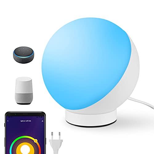 Lampada da Comodino RGB, Lampada da Tavolo Intelligente compatibile con Alexa e Google, Dimmerabile Luce Notturna Smart per Camera da Letto, Soggiorno