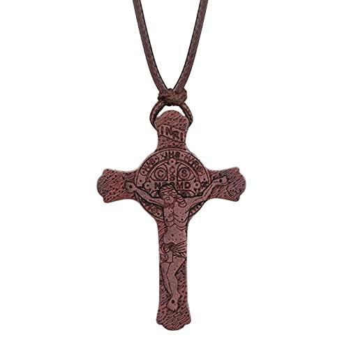 Cuerda de cuero ajustable Cadenas Collares Ortodoxo Madera natural Umbila Crucifijo Cruz Jesús Collares pendientes Joyería Inri Collar ajustable