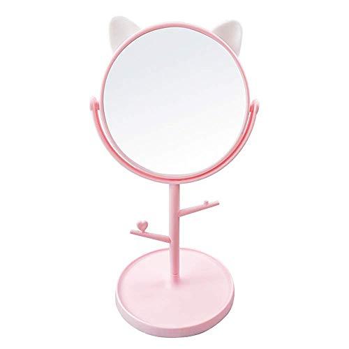 Desk Mirror in Cute Cat Ears Shape-Makeup&Vanity Mirror for You in Bathroom or Bedroom- Pink
