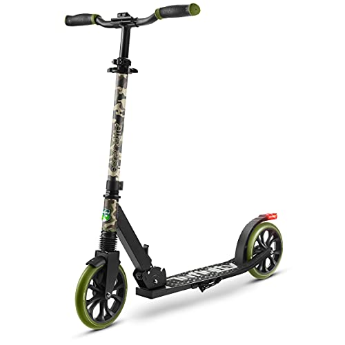 Folding Kick Scooter for Adults and Kids – Boys and Girls Freestyle Scooter with Big Wheels, 1-Kick Open Mechanism, Anti-Slip Rubber Deck and LED Light – Folding Grips Handlebar Adjusts to 3 Heights