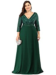 Dark Green Deep V-Neck Plus Size Dress with Long Sleeves 0751-PZ
