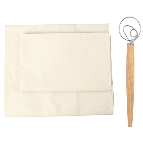 Professional Bakers 35x26'' Dough Couche Proofing Cloth, Baking Couche Linen Cloth 100% Pure Cotton Pastry Baguettes Bread Towel for Proofing with a Whisk (26x35 Inches)