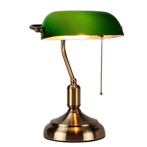 Lampe de banquier Traditionnelle Lampe de Bureau en métal Antique avec Chainette Abat-Jour en Verre Vert Lampe de Chevet pour Chambre à Coucher - Finition en Laiton Lampe de Table