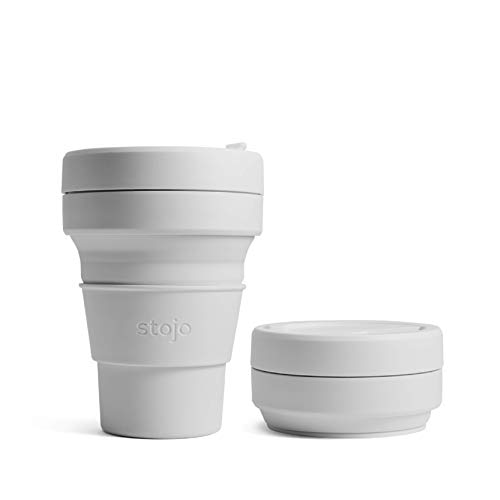 Stojo On The Go Collapsible Coffee Cup   Pocket Size Collapsible Silicone Travel Cup   Brooklyn Collection - 8oz / 237ml - Mini Cashmere
