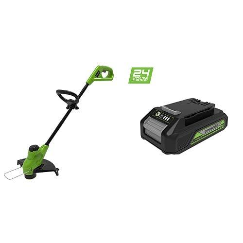 Greenworks Tools G24LT25 String Recortadora de césped, 24 V, 25cm + G24B2 24V Batería de Li-Ion 2Ah sin cargador + Cargador universal Gen 2, 24V 2A