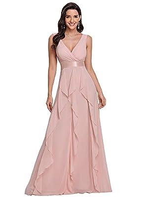 Ever-Pretty Womens Floor-Length Deep V-Neck Backless Summer Dress for Women Pink US12