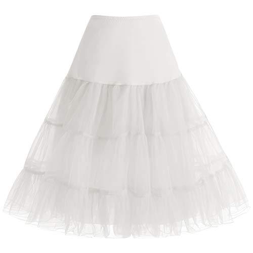 Kurz Retro Petticoat Underskirt Rock 1950er Vintage Tutu Ballett Unterkleid für Rockabilly Kleid Ivory L