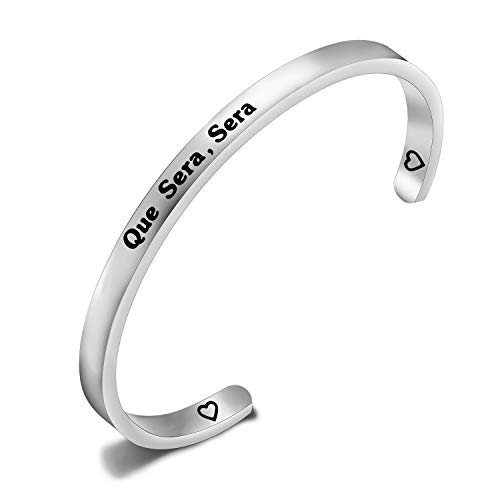 CENWA Que Sera Sera Inspiration Bracelet French Phrase Motivational Gift Hanukkah Gift for Mom, Sister, Best Friend, Girlfriend (Que Sera Sera cuff br S)