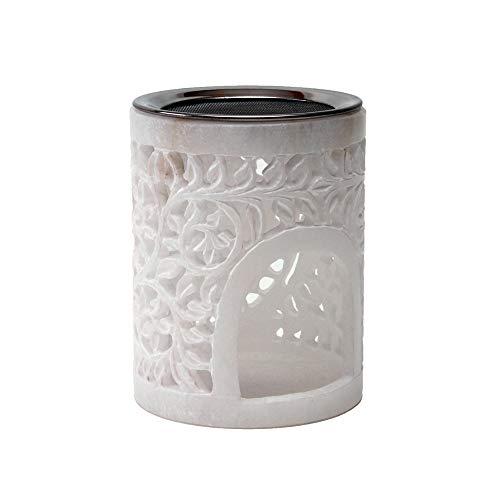 Bitto Weihrauchbrenner Windlicht LOTOS Alabaster Höhe 12 cm, Ø 9 cm mit Edelstahlsieb Ø 9 cm - Softstone mit Blumenrankenmuster