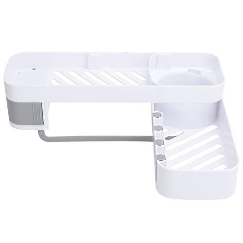 Hapivida Estante de Esquina para Baño Adhesivo Sin Perforaciones Cesta de Ducha Montada en La Pared Organizador de Ducha Almacenamiento con 3 Ganchos para Toallas para Cocina Inodoro(Gris Blanco)