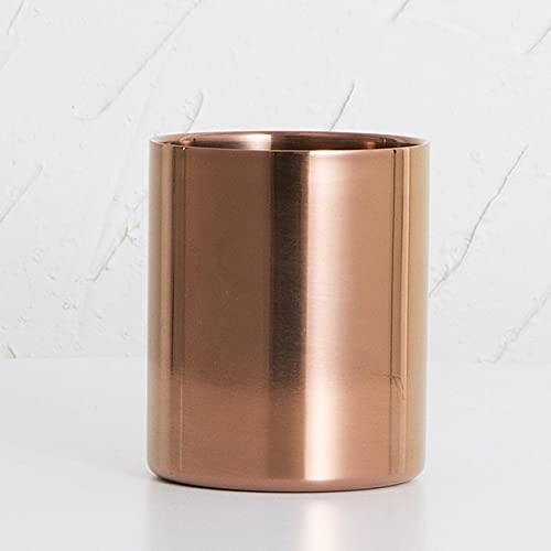 Chic Gold Lápiz Copa de Acero Inoxidable Pluma de Acero Inoxidable Redondo de Escritorio Brocha de Maquillaje para Oficina y baño (Color : Rose Gold)
