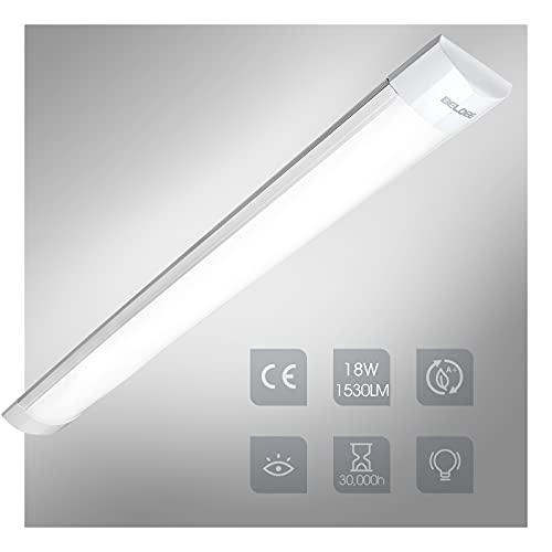 18W Tubo Fluorescente LED 60cm, Luz de Armarios Blanco 6500K 1530LM Led...