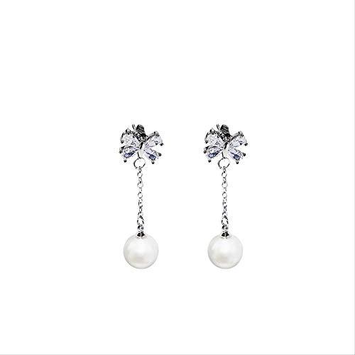 Pendientes para mujer Juegos de aros Pendiente de granate de perlas para mujer Pendiente clásico de compromiso de boda Gemstone
