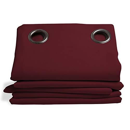 Moondream Verdunkelungsvorhang, 100% Licht- und Sonnenschutz, Revolution Rot - Weinrot, 135 x 260 (BxH) cm, Ösen (1 Vorhang)