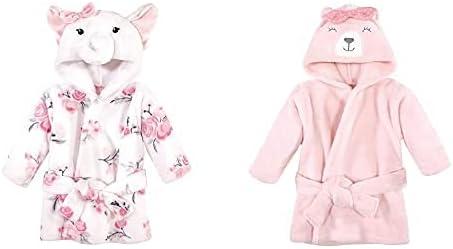 Hudson Baby Girl Plush Animal Face Bathrobe 2-Pack, White Elephant Bear
