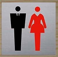 最高級ステンレス トイレマーク トイレプレート トイレサイン 標識 男子 女子 高級 ホテル (125mm×125mm)