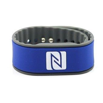NFC Armband, geeignet für Kontaktdaten, Messe, Sport, 924 Byte (NTAG 216), wasserfest, blau/grau, verstellbar