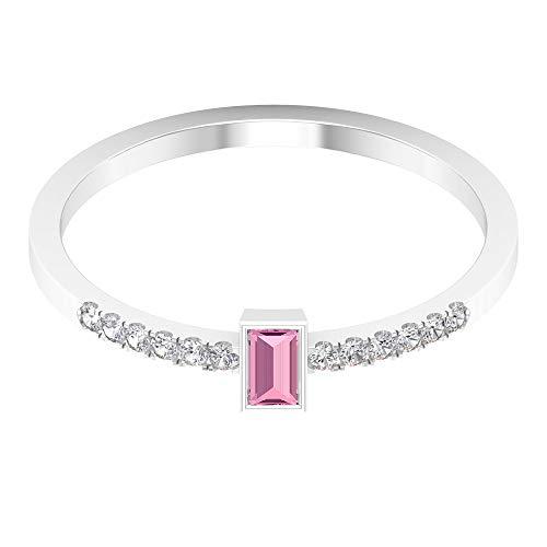 Anillo de promesa de 1/4 quilates para mujer con turmalina rosa baguette y detalles de diamante (calidad AAA), 14K Oro blanco, Size:EU 52