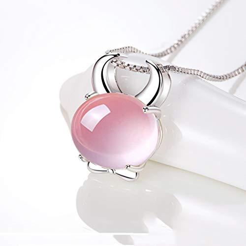 Collar Constelación del zodiaco Collar Año del Ganado clavícula cadena de cristal de color rosa joyería pendiente del collar, regalos de cumpleaños for las mujeres, 18' Collares de joyería