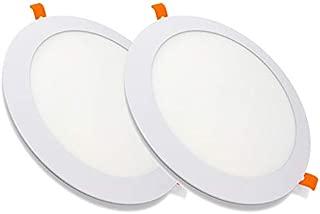 Pack de 2 Paneles LED Redondos ECOMAX · Downlight LED para Encastrar Extrafino de 20W con 2000 Lúmenes · 6000K Luz Blanca Fría · LED con 225mm de diámetro · 2 Años de Garantía [Clase Energética A++]