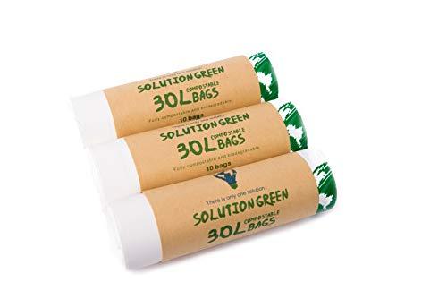 Solution Green 30L Kompostierbare Biomüllbeutel Mit & ohne Henkel [6L, 10L, 50L] | Tragegriff 100{510dc4e41147f7758218999aa4dbc1d74c97a98022e5fc82fed6401cafb93af0} Biologisch Abbaubar Mülltüten Für Die Biotonne Oder Ihren Kompost aus Maisstärke reissfeste