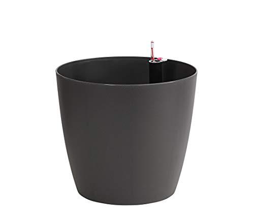 Dehner Pflanztopf Mila mit Selbstbewässerungs-System, Ø 30 cm, Höhe 26 cm, Kunststoff, anthrazit