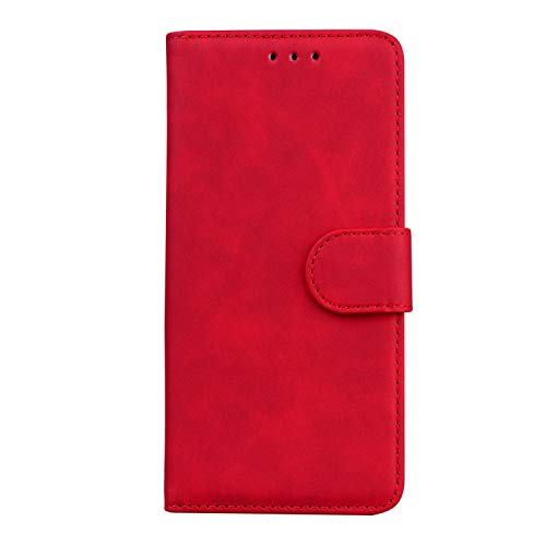 TIANCI Hülle für Realme C21, Ordentlich & Einfaches Hautfre&liches PU-Leder Hülle, Brieftasche Schutzhülle, Flip Stoßfeste Handyhülle für Realme C21 Hülle-Rot