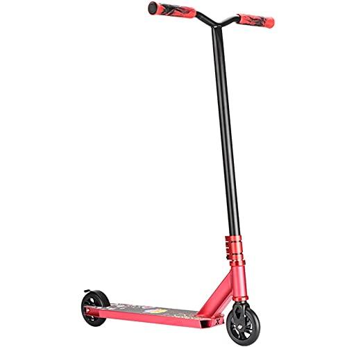 Hou Hexin Trade Truco Scooter Adulto 100 mm Ruedas kickscooter, dirección Sport Scooter 360 para Trucos Scooters de 9 años, Cubierta de Aluminio Claro, rodamientos ABEC-9 (Color : Red)