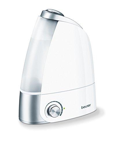Beurer LB44 - Humidificador de aire ultrasónico higiénico e inodoro, humidificación por vaporización de agua, depósito 2.8 litros extráible, 20 W, alcance 25 m², color blanco y plata
