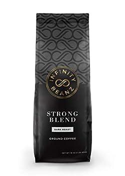 Infinity Beanz STRONG BLEND Ground Coffee Dark Roast [16oz.] Arabica Robusta  1-Pack