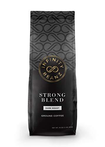 Infinity Beanz STRONG BLEND Ground Coffee, Dark Roast [16oz.] Arabica, Robusta (1-Pack)
