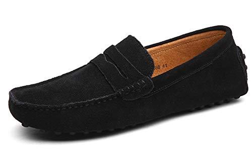 DUORO Herren Klassische Weiche Mokassin Echtes Leder Schuhe Loafers Wohnungen Fahren Halbschuhe (45,Schwarz)