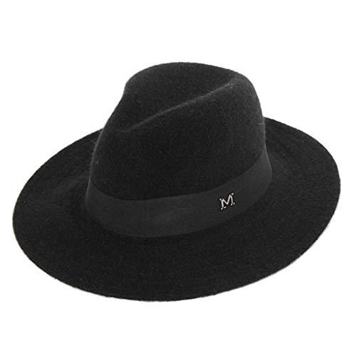 BAOGUAN Winter Wollmützen British Style Wild Jazz Hat Männer und Frauen Casual Travel Hats (Color : Black, Size : OneSize)