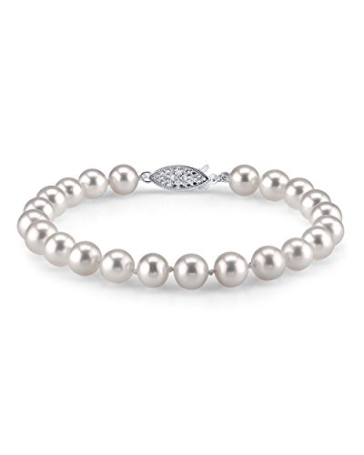 THE PEARL SOURCE Sterling Silver 7-8mm AAA Quality Round White Freshwater Cultured Pearl Bracelet for Women
