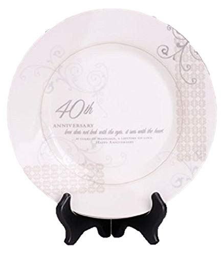 40th Wedding Anniversary Love Sees with the Heart Porcelain Plate with Stand