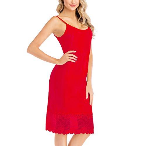 Kobay-Damen Mode Hautfreundlich Solid Lace Pyjamas Rundhalsriemen Kleid Slim Sleep Chemise Nightdress Geschenke für Frauen