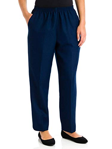Alfred Dunner Petites' Pull-on Flat-Front Pants Navy 12P Short