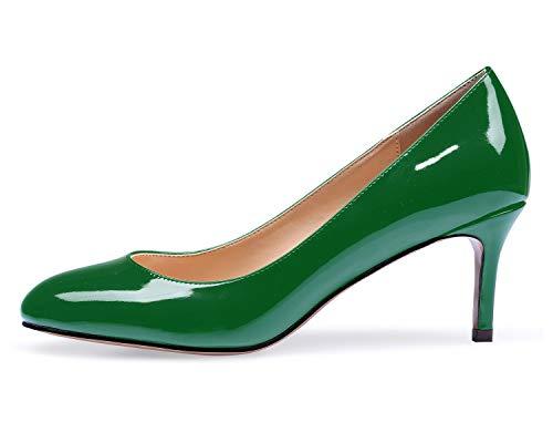 elashe Damen Kitten-Heel Elegante Pumps Schuhe Grün EU39