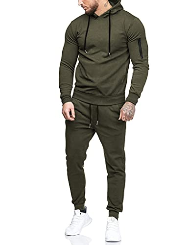 COOFANDY Men's Tracksuit 2 Piece Hooded Athletic Sweatsuits Casual Running Jogging Sport Suit Sets Army Green