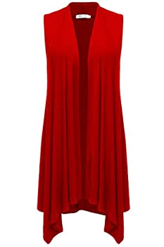 Meaneor Womens Long Vest Solid Color Asymetric Hem Open Front Cardigan Top Sleeveless Cardigan Red L