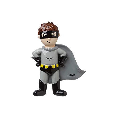 Personalized Super Hero Christmas Tree Ornament 2020 - Fictional Character Boy Grey Black Costume Cape Mask Batman Best Toddler Heroic Cartoon Dark Knight Toy Star Gift Year - Free Customization