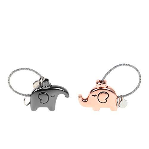 Njuyd - Llavero de seguridad con diseño de elefante para parejas, sin llaves, sin contraseña